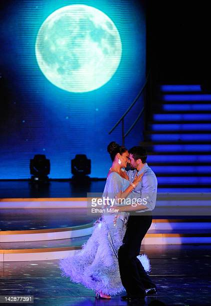 Actress Tia Carrere and dancer Dmitry Chaplin perform during the grand opening of Dancing With the Stars Live in Las Vegas at the New Tropicana Las...
