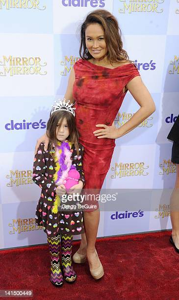 Actress Tia Carrere and daughter Bianca Wakelin arrive at Mirror Mirror Los Angeles premiere at Grauman's Chinese Theatre on March 17 2012 in...