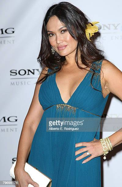 Actress Tia Carrere arrives at the Sony BMG Music 2008 Grammy Awards After Party held at the Beverly Hilton Hotel on February 10 2008 in Beverly...