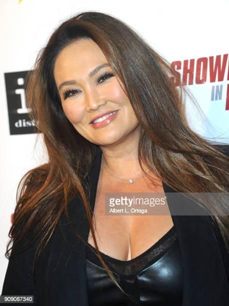 Actress Tia Carrere arrives for the Premiere Of ITN Distribution's 'Showdown In Manila' held at Laemmle's Ahrya Fine Arts Theatre on January 22 2018...