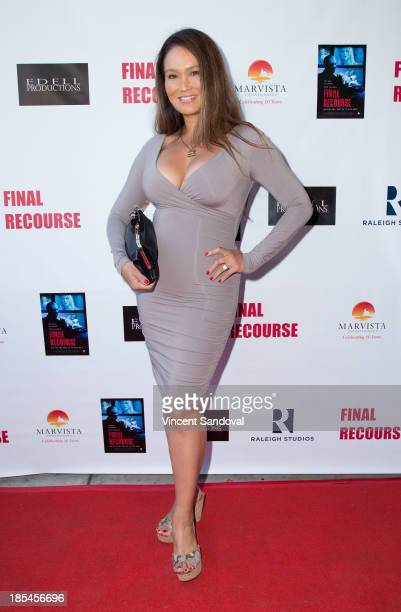 Actress Tia Carrere attends the cast and crew screening of Final Recourse at Raleigh Studios on October 20 2013 in Los Angeles California