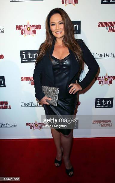 Actress Tia Carrere attends the premiere of ITN Distribution's Showdown in Manila at Laemmle's Ahrya Fine Arts Theatre on January 22 2018 in Beverly...