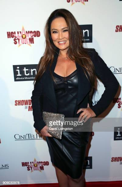Actress Tia Carrere attends the premiere of ITN Distribution's 'Showdown in Manila' at Laemmle's Ahrya Fine Arts Theatre on January 22 2018 in...