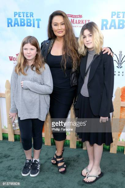Actress Tia Carrere Bianca Wakelin and guest attend the premiere of 'Peter Rabbit' sponsored by Cost Plus World Market at The Grove on February 3...