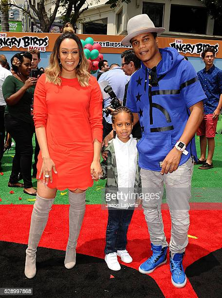 Actress Tia Mowry actor Cory Hardrict and son Cree Taylor Hardrict attend the premiere of 'Angry Birds' at Regency Village Theatre on May 7 2016 in...