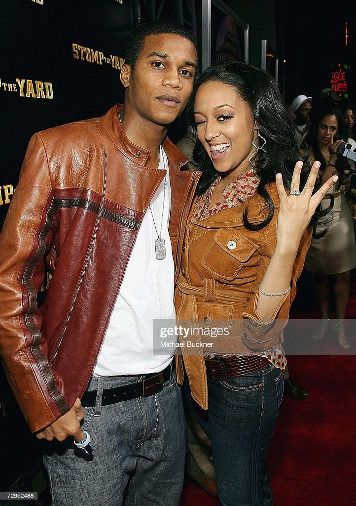 Actress Tia Mowry (right) and fiance Cory Hardrict arrives at the premiere of Screen Gem's 'Stomp The Yard' at the Cinerama Dome on January 8, 2007 in Los Angeles, California.