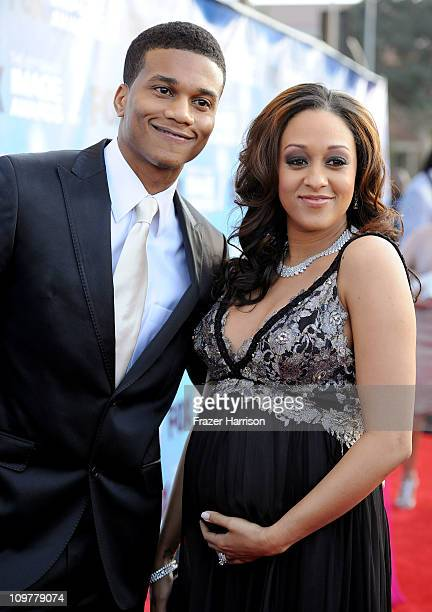Actress Tia Mowry and husband Cory Hardrict arrive at the 42nd NAACP Image Awards held at The Shrine Auditorium on March 4 2011 in Los Angeles...
