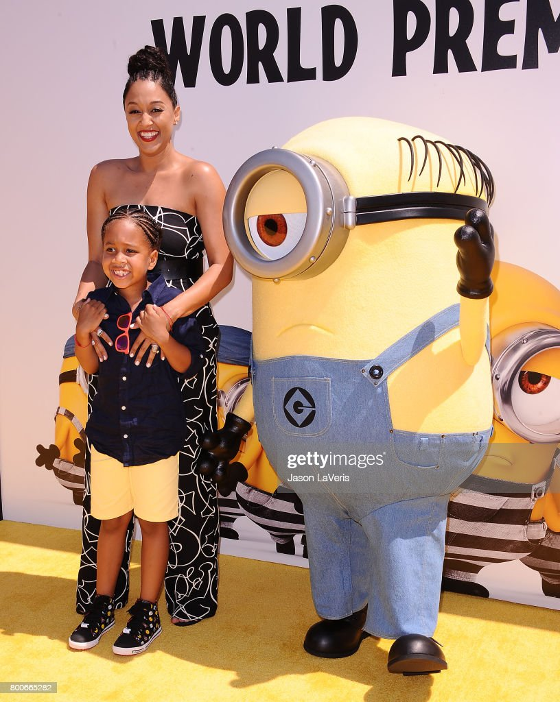 Actress Tia Mowry and son Cree Taylor Hardrict attend the premiere of 'Despicable Me 3' at The Shrine Auditorium on June 24, 2017 in Los Angeles, California.