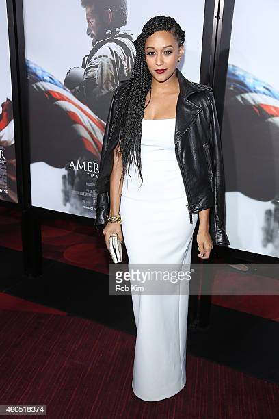 Actress Tia Mowry arrives at the American Sniper New York Premiere at Frederick P Rose Hall Jazz at Lincoln Center on December 15 2014 in New York...