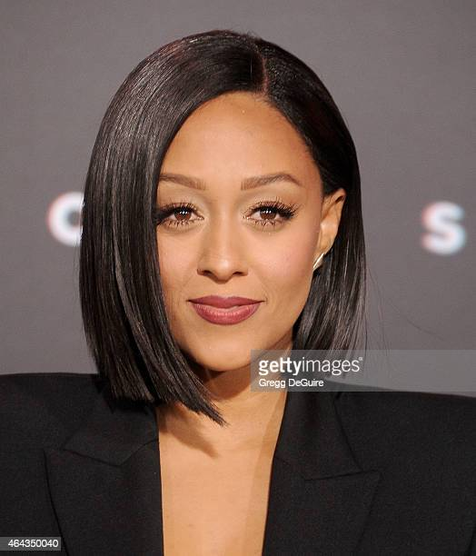 """Actress Tia Mowry arrives at the Los Angeles World Premiere of Warner Bros. Pictures """"Focus"""" at TCL Chinese Theatre on February 24, 2015 in..."""