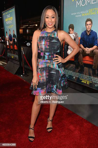 Actress Tia Mowry arrives to the premiere of Focus Features' 'That Awkward Moment' at Regal Cinemas LA Live on January 27 2014 in Los Angeles...