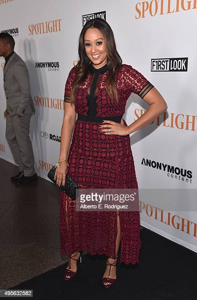 "Actress Tia Mowry attends a special screening of Open Road Films' ""Spotlight"" at The DGA Theater on November 3, 2015 in Los Angeles, California."