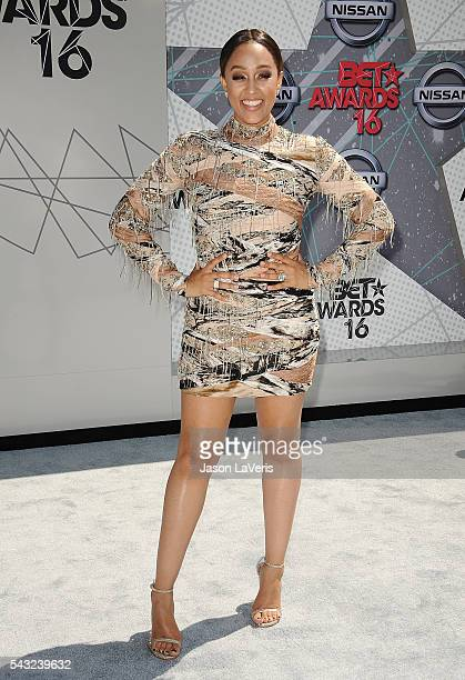 Actress Tia Mowry attends the 2016 BET Awards at Microsoft Theater on June 26 2016 in Los Angeles California