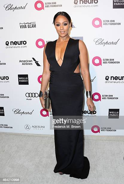 Actress Tia Mowry attends the 23rd Annual Elton John AIDS Foundation's Oscar Viewing Party on February 22 2015 in West Hollywood California