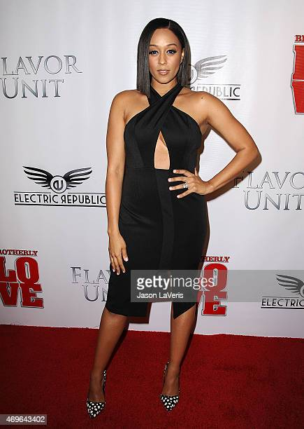 """Actress Tia Mowry attends the premiere of """"Brotherly Love"""" at SilverScreen Theater at the Pacific Design Center on April 13, 2015 in West Hollywood,..."""