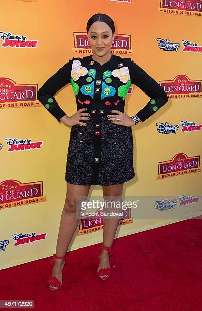 Actress Tia Mowry attends the premiere of Disney Channel's 'The Lion Guard Return Of The Roar' at Walt Disney Studios on November 14 2015 in Burbank...