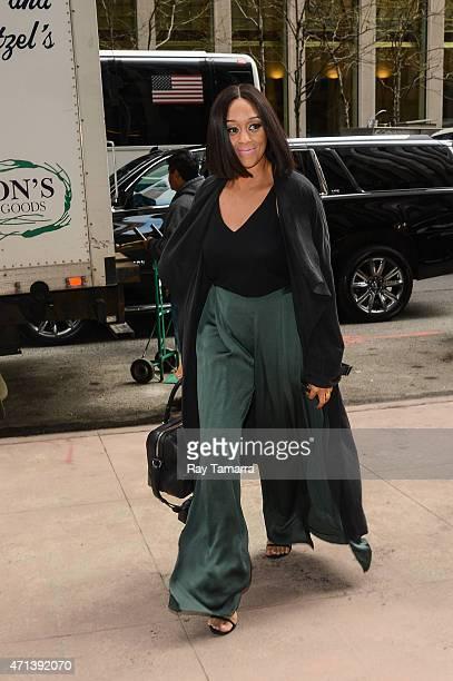 Actress Tia Mowry enters the Sirius XM Studios on April 27 2015 in New York City