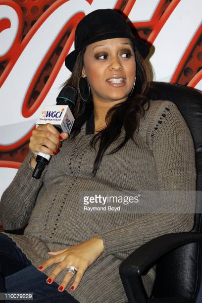 Actress Tia Mowry is interviewed in the WGCIFM 'CocaCola Lounge' in Chicago Illinois on MAR 11 2011