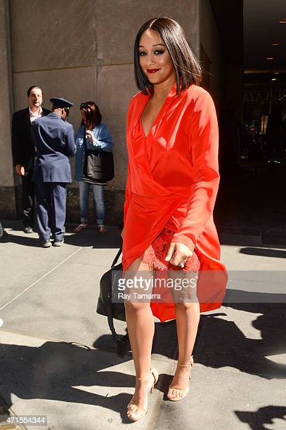 Actress Tia Mowry leaves the 'Today Show' taping at the NBC Rockefeller Center Studios on April 29 2015 in New York City