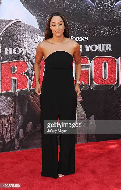 Actress Tia MowryHardict arrives at the Los Angeles premiere of 'How To Train Your Dragon 2' at the Regency Village Theatre on June 8 2014 in...