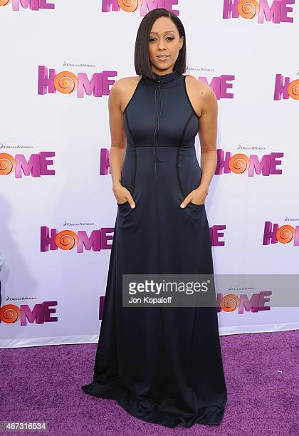 Actress Tia MowryHardrict arrives at the Los Angeles Premiere HOME at Regency Village Theatre on March 22 2015 in Westwood California