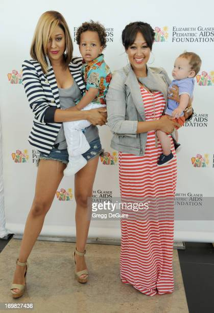 Actress Tia MowryHardrict son Cree Hardrict actress Tamera MowryHousley and son Aden Housley arrive at the Elizabeth Glaser Pediatric AIDS...