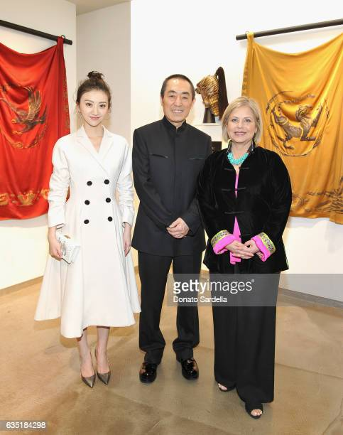 Actress Tian Jing wearing Dior director Yimou Zhang and costume designer Mayes C Rubeo attend Saks Fifth Avenue presentation of The Great Wall at...