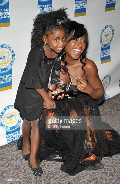 Actress Tichina Arnold and her daughter Alijah Kai attend the press room for the 19th Annual NAACP Theatre Awards at the Directors Guild Of America...