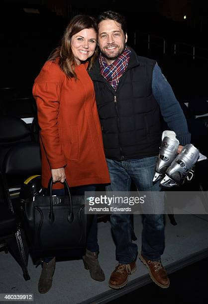Actress Tiffani Thiessen and actor Jason Priestley attend the Disney On Ice Presents Let's Celebrate event at Staples Center on December 11 2014 in...