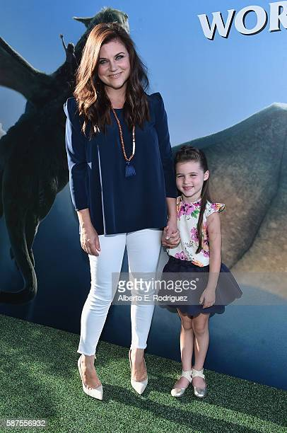 Actress Tiffani Thiessen and Harper Renn Smith arrive at the world premiere of Disney's 'PETE'S DRAGON' at the El Capitan Theater in Hollywood on...