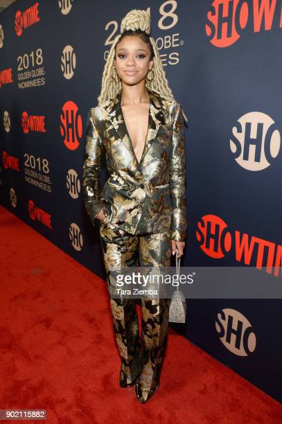 Actress Tiffany Boone attends the Showtime Golden Globe Nominees Celebration at Sunset Tower on January 6 2018 in Los Angeles California