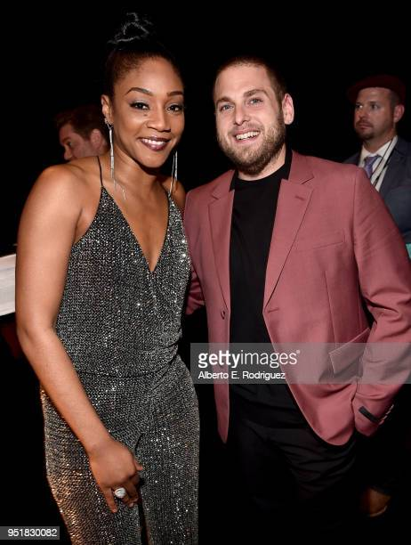 Actress Tiffany Haddish and actor Jonah Hill attend the CinemaCon Big Screen Achievement Awards brought to you by the CocaCola Company at The...