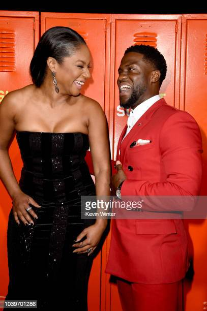 Actress Tiffany Haddish and actor Kevin Hart arrive at the premiere of Universal Pictures' Night School at the Regal Cinemas LA LIVE Stadium 14 on...