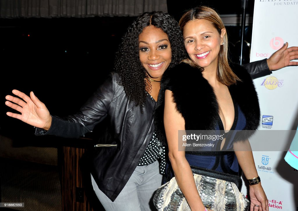 Actress Tiffany Haddish (L) and Dorys Madden attend the NBA All-Star Bowling Classic at Lucky Strike LA Live on February 15, 2018 in Los Angeles, California.