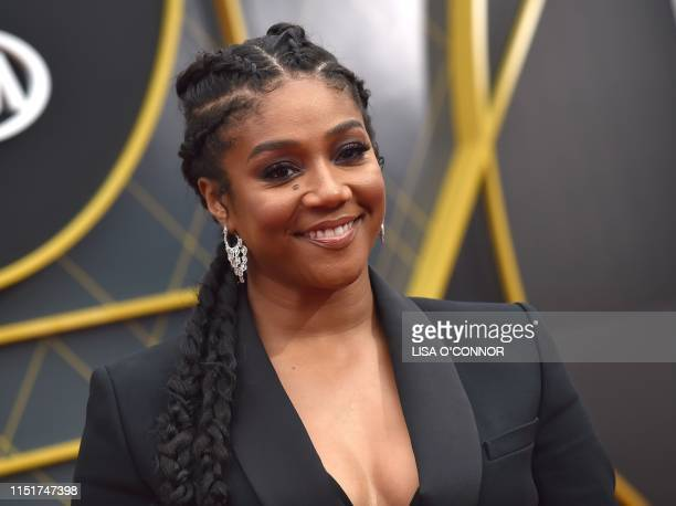 US actress Tiffany Haddish arrives for the 2019 NBA Awards at Barker Hangar on June 24 2019 in Santa Monica California