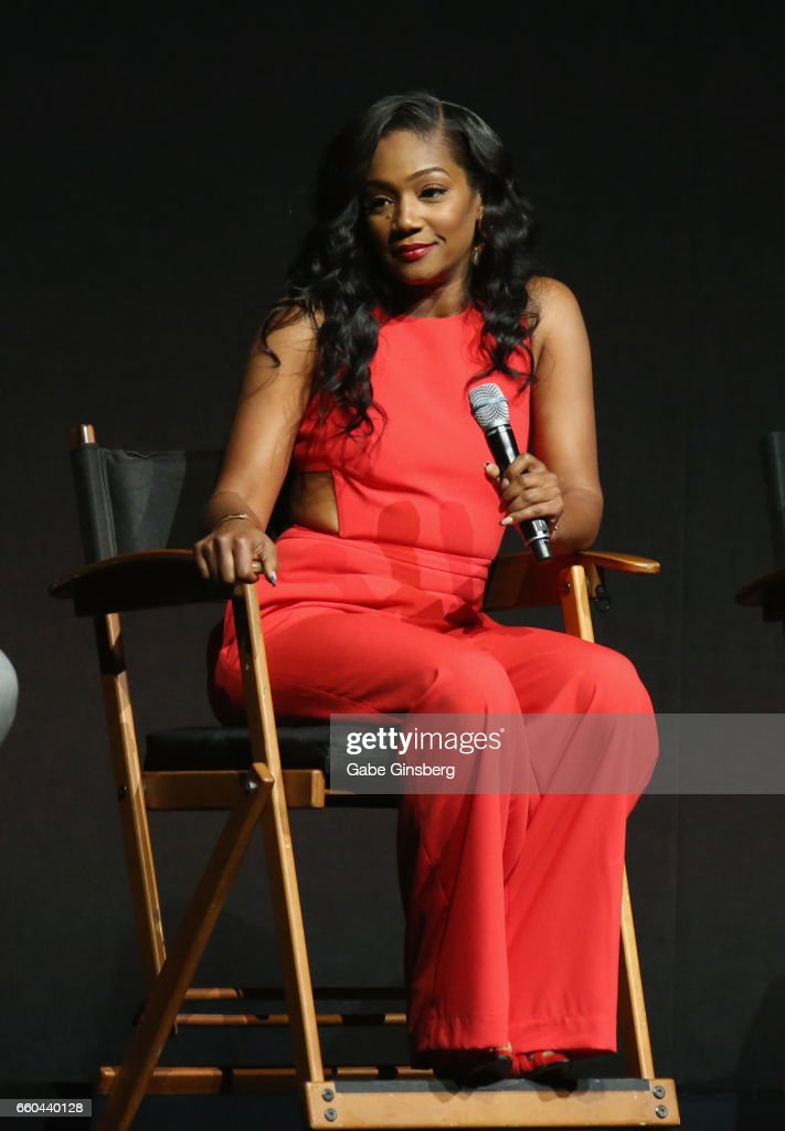 Actress Tiffany Haddish speaks at the Universal Pictures' presentation during CinemaCon at The Colosseum at Caesars Palace at on March 29, 2017 in Las Vegas, United States.