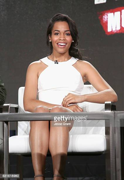 Actress Tiffany Mack of 'Hap and Leonard Mucho Mojo' speaks onstage during the SundanceTV portion of the 2017 Winter Television Critics Association...