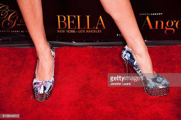 Actress Tiffany Michelle shoe detail arrives at the 2016 City Gala Fundraiser at The Playboy Mansion on February 15 2016 in Los Angeles California