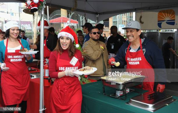 Actress Tiffany Phillips actress Christina DeRosa and actor Danny Trejo attend the Los Angeles Mission Christmas On Skid Row held at Los Angeles...