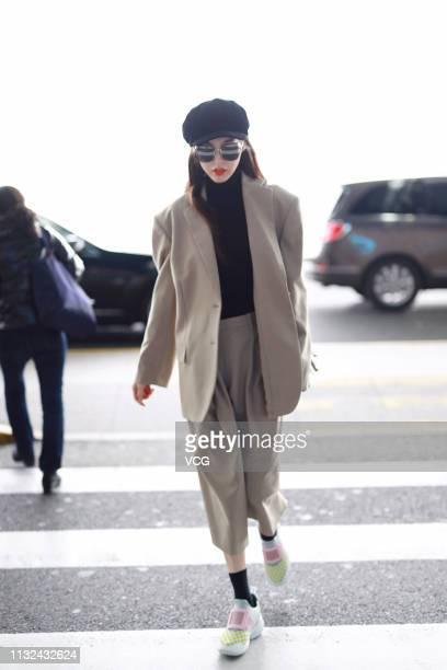 Actress Tiffany Tang Yan is seen at Shanghai Pudong International Airport on February 27 2019 in Shanghai China