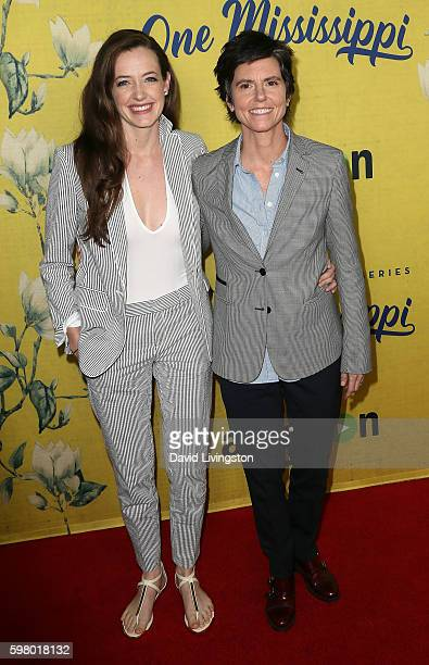Actress Tig Notaro and wife actress Stephanie Allynne attend the premiere of Amazon Instant Video's One Mississippi at The London West Hollywood on...