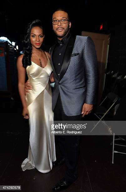 Actress Tika Sumpter and actor/producer Tyler Perry attend the 45th NAACP Image Awards presented by TV One at Pasadena Civic Auditorium on February...