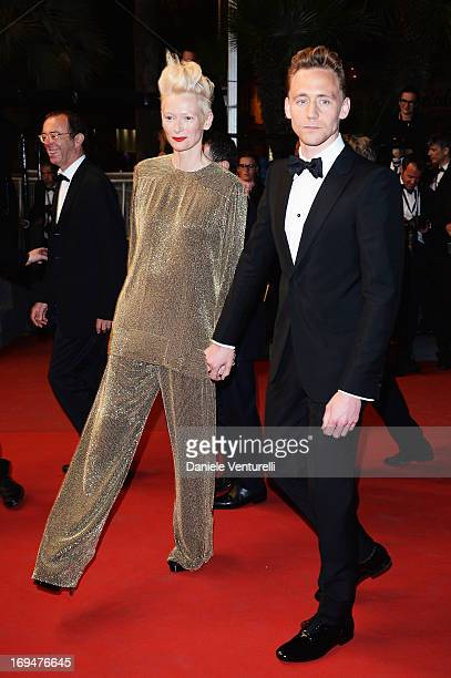 Actress Tilda Swinton and actor Tom Hiddleston attend the Premiere of 'Only Lovers Left Alive' during the 66th Annual Cannes Film Festival at the...