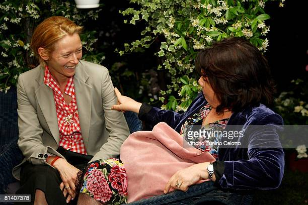 Actress Tilda Swinton and author Serena Vitale attend the Gatti in Crisi D'Identita Book Launch held at Vivaio Sorelle Riva on June 04 2008 in Milan...