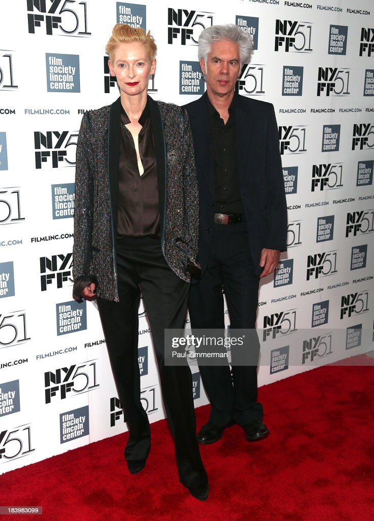 Actress Tilda Swinton (L) and director Jim Jarmusch attend the 'Only Lovers Left Alive' Premiere during the 51st New York Film Festival at Alice Tully Hall at Lincoln Center on October 10, 2013 in New York City.