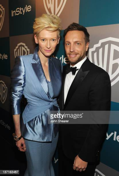 Actress Tilda Swinton and Editor of InStyle Ariel Foxman attend the InStyle and Warner Bros 69th Annual Golden Globe Awards PostParty at The Beverly...