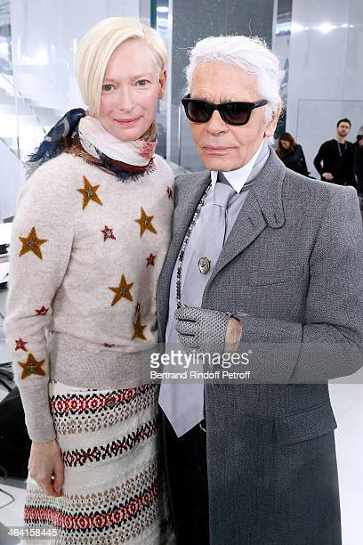 Actress Tilda Swinton and Fashion designer Karl Lagerfeld pose backstage after the Chanel show as part of Paris Fashion Week Haute Couture...