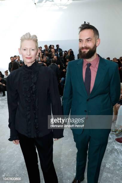 Actress Tilda Swinton and her husband Artist Sandro Kopp attend the Haider Ackermann show as part of the Paris Fashion Week Womenswear Spring/Summer...