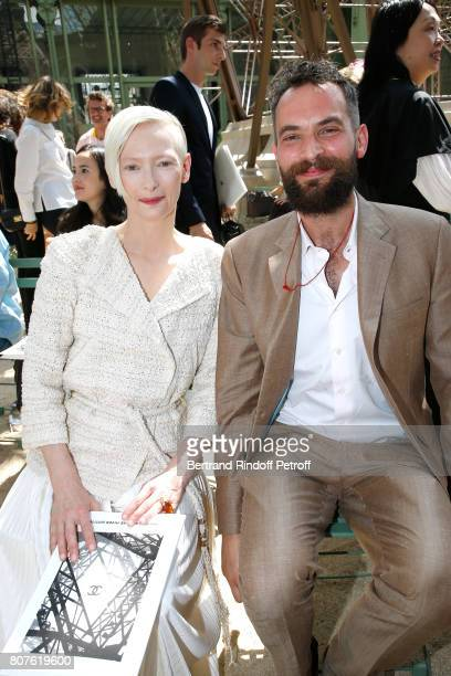 Actress Tilda Swinton and her husvand Sandro Kopp attend the Chanel Haute Couture Fall/Winter 20172018 show as part of Haute Couture Paris Fashion...