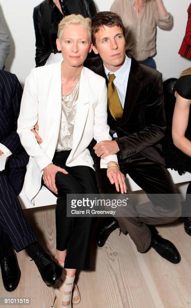 Actress Tilda Swinton and photographer Ryan McGinley attend the Pringle of Scotland Spring/Summer 2010 show during London Fashion Week at The Saatchi...